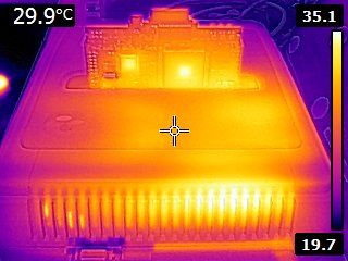 thermal image of an SNES+sd2snes - rear view